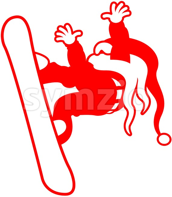 Extreme snowboarding Santa Claus Stock Vector