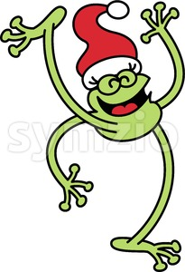 Green frog celebrating Christmas Stock Vector