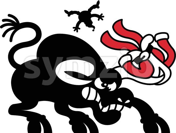 Wild black bull charging Santa Claus Stock Vector