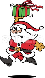 Santa Claus running with a Christmas gift Stock Vector