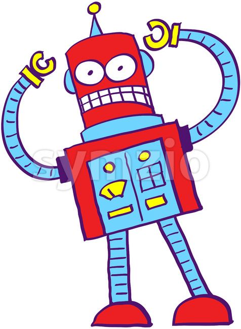 Crazy robot getting out of control Stock Vector