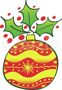 Red Christmas bauble with an evergreen holly Stock Vector