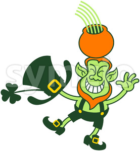Leprechaun grinning and juggling a gold pot Stock Vector