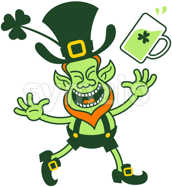 Joyful Leprechaun throwing a mug of beer Stock Vector