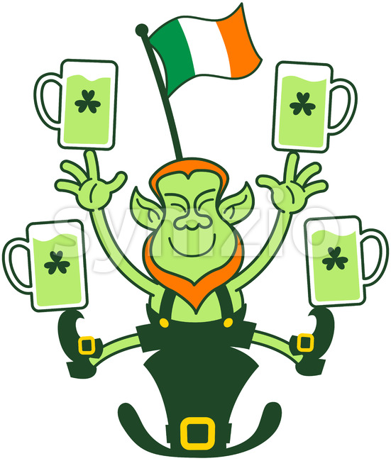 Leprechaun juggling Irish flag and beer mugs Stock Vector