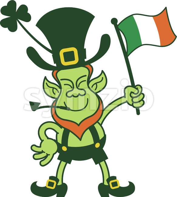 Proud leprechaun waving an Irish flag Stock Vector