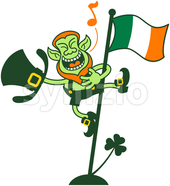 Irish Leprechaun Singing on a Flag Pole Stock Vector