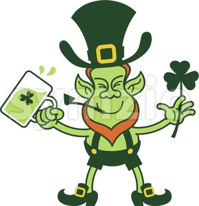 Irish Leprechaun celebrating with beer and a shamrock clover Stock Vector