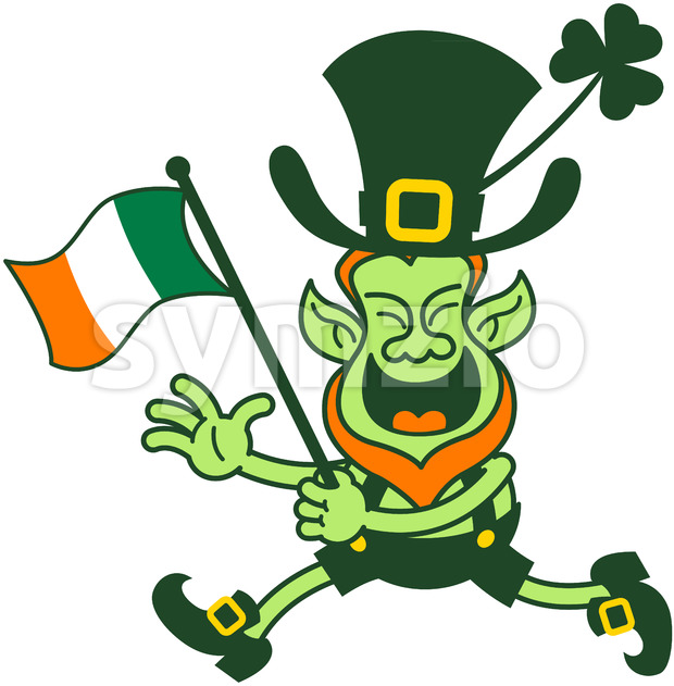 Leprechaun waving an Irish flag while running Stock Vector