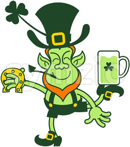 Leprechaun juggling beer mug and horseshoe Stock Vector