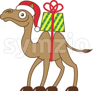Camel carrying a Christmas gift on his back Stock Vector