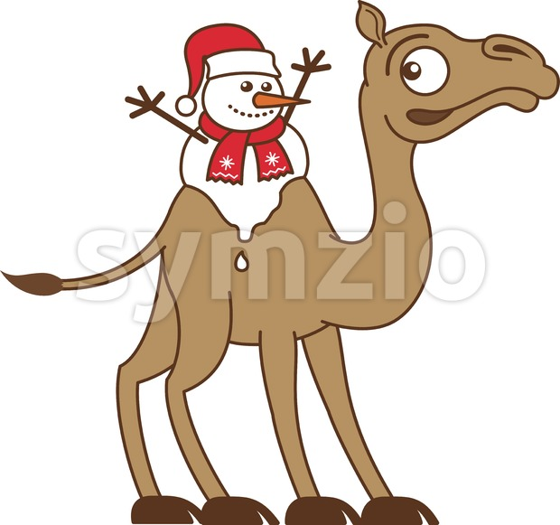 Melting Christmas Snowman Riding a Camel Stock Vector