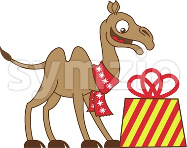 Cool camel receiving a Christmas gift Stock Vector
