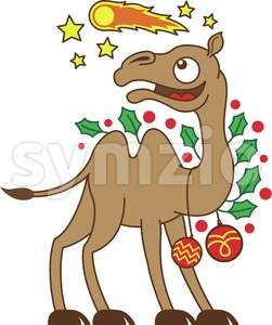 Christmas camel watching the Star of Bethlehem Stock Vector