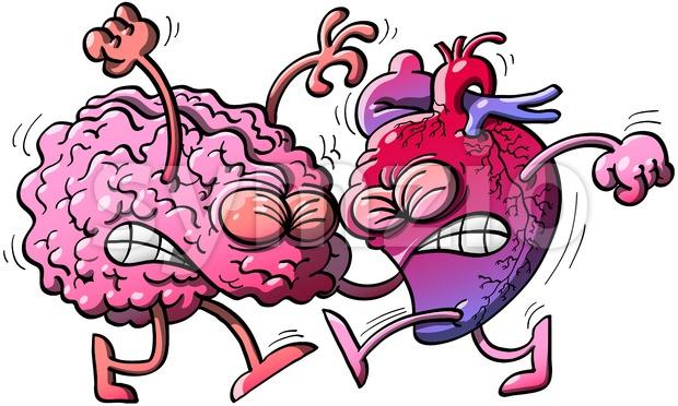 Brain fighting against heart Stock Vector