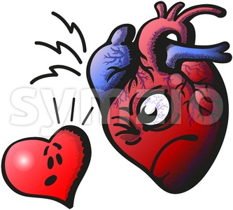 Real heart against cartoon heart Stock Vector