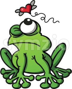 Green frog stalking love insect Stock Vector