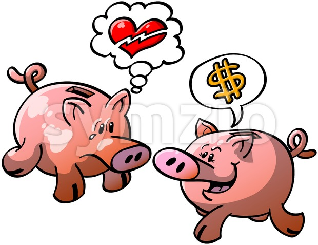 Piggy banks expressing opposite points of view Stock Vector