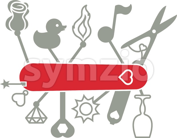 Swiss army knife for passionate and romantic lovers Stock Vector