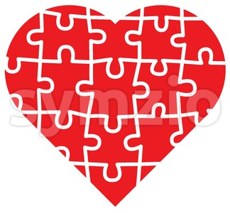 Various pieces forming a jigsaw love puzzle Stock Vector