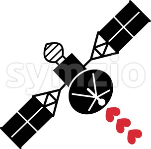 Satellite spreading red heart waves of love Stock Vector