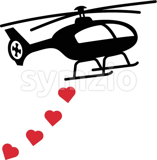 Black helicopter bombing red hearts Stock Vector