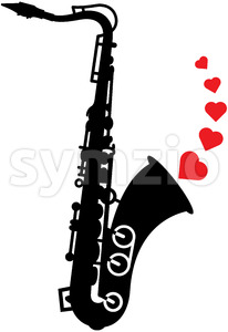 Romantic saxophone playing love melodies Stock Vector