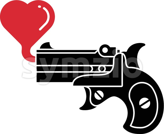 Black pistol blowing hearts of love Stock Vector