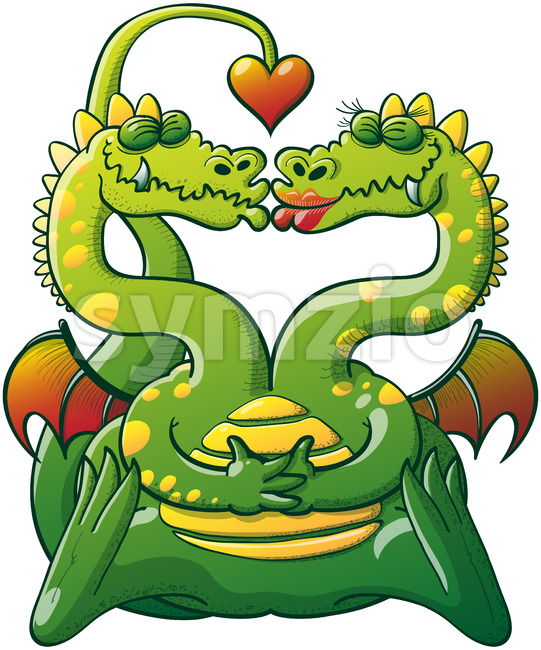 Double headed dragon madly in love Stock Vector