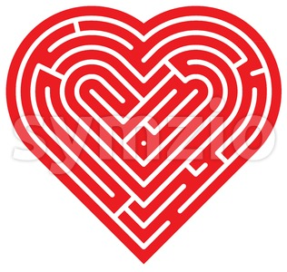 Heart shaped labyrinth Stock Vector
