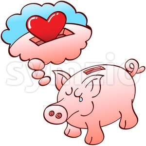 Piggy bank dreaming of hearts instead of coins Stock Vector