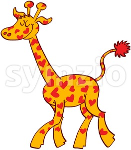 Proud giraffe wearing red hearts on its fur Stock Vector