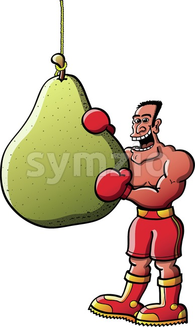 Smiling boxer eating pear-like boxing bag Stock Vector
