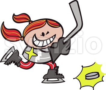 Young girl playing ice hockey Stock Vector