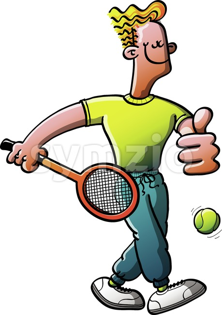 Cool tennis man walking for a training Stock Vector