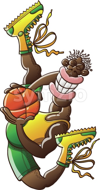 Basketball player jumping high with a ball Stock Vector