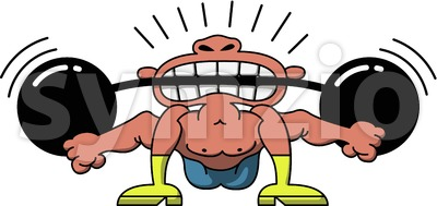 Circus man lifting weights with his teeth Stock Vector