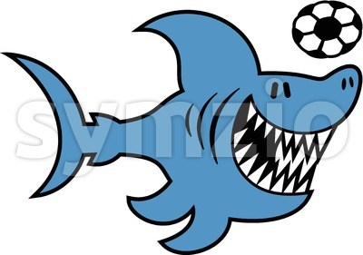 Cool blue shark playing soccer Stock Vector