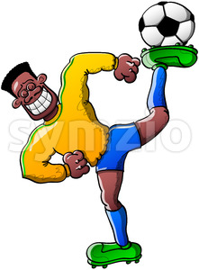 Talented soccer player holding a ball on his foot Stock Vector