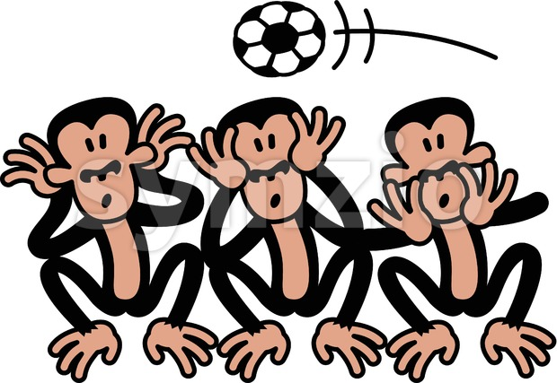 Three wise monkeys and soccer Stock Vector