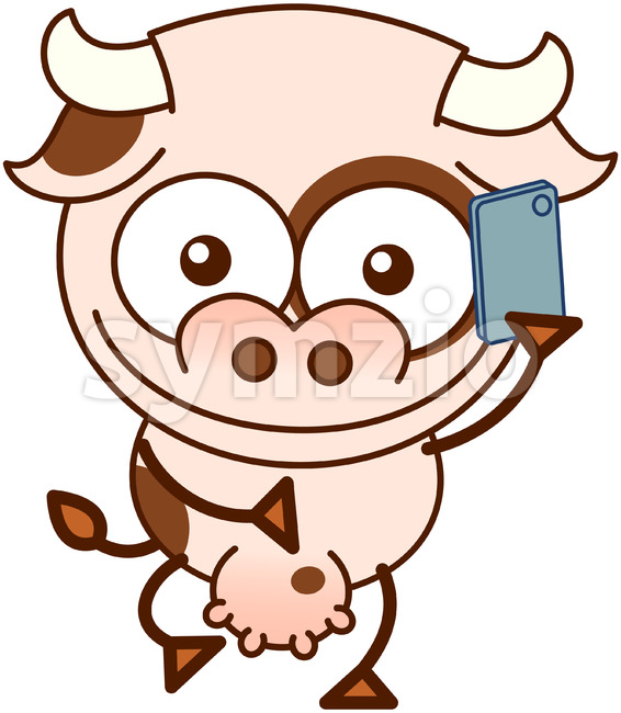 Cute cow talking on a smartphone Stock Vector