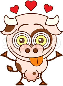 Chubby cow feeling lucky in love Stock Vector
