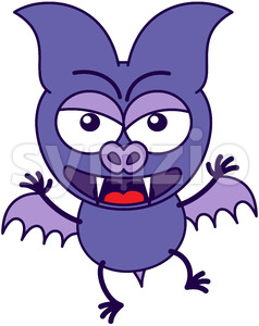 Purple bat feeling angry and protesting Stock Vector