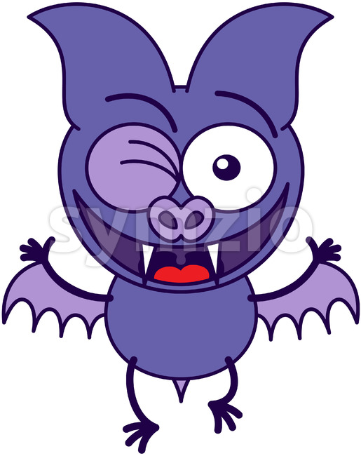 Purple bat winking enthusiastically Stock Vector