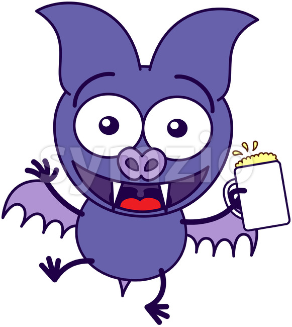 Purple bat celebrating with beer Stock Vector