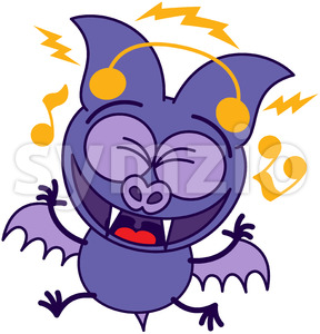 Purple bat listening to music and dancing Stock Vector