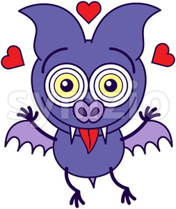 Purple bat feeling head over heels in love Stock Vector