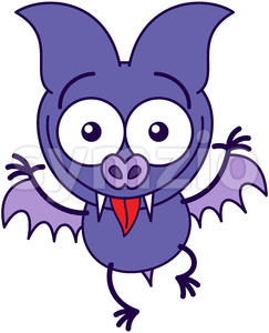 Purple bat making funny faces Stock Vector