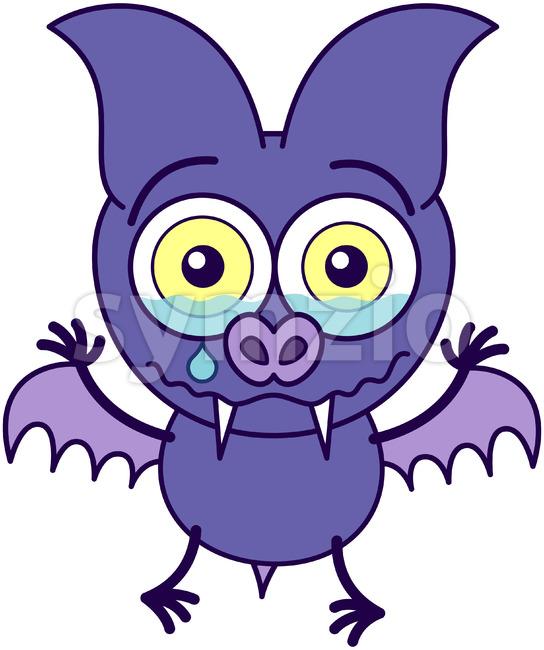 Purple bat crying and feeling sad Stock Vector