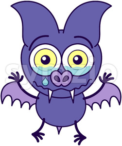 Purple bat crying and feeling sad Stock Vector